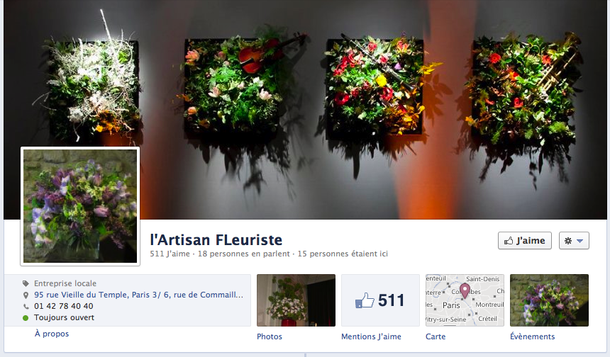 fleuriste sur facebook